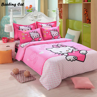 Brand Logo Hello Kitty Bedding Set Children Cotton Bed Linen Duvet Cover Bed Sheet Pillowcase Twin Full Queen Size Free Shipping