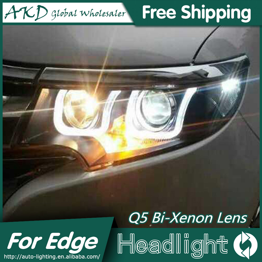 AKD Car Styling for Ford Edge Headlights 2012-2014 New Edge LED Headlight DRL Bi Xenon Lens High Low Beam Parking Fog Lamp union car styling for ford fusion headlights 2013 2015 new fusion led headlight original drl bi xenon lens high low beam parking