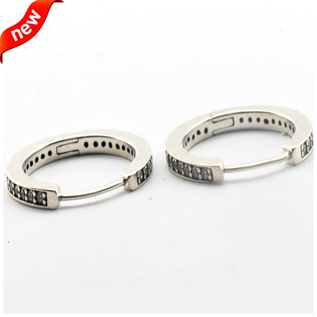 Silver Hoop Earrings with Cubic Zirconia Authentic 925 Sterling Silver Earings for Women European DIY Jewelry Wholesale
