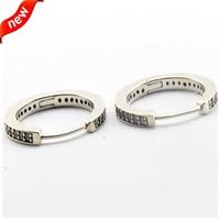 Silver Hoop Earrings with Cubic Zirconia Authentic 925 Sterling Silver Earings for Women European DIY Jewelry Wholesale