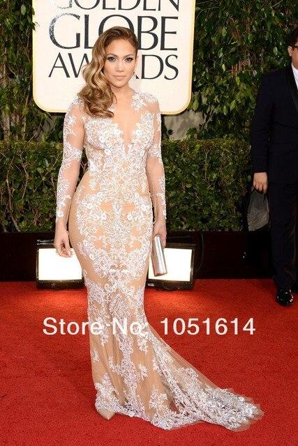 Moda Tapete vermelho Vestidos do Globo de Ouro Red Carpet Mermaid Colher Manga Comprida Lace Sheer Lace Vestidos Celebridade Jennifer Lopez