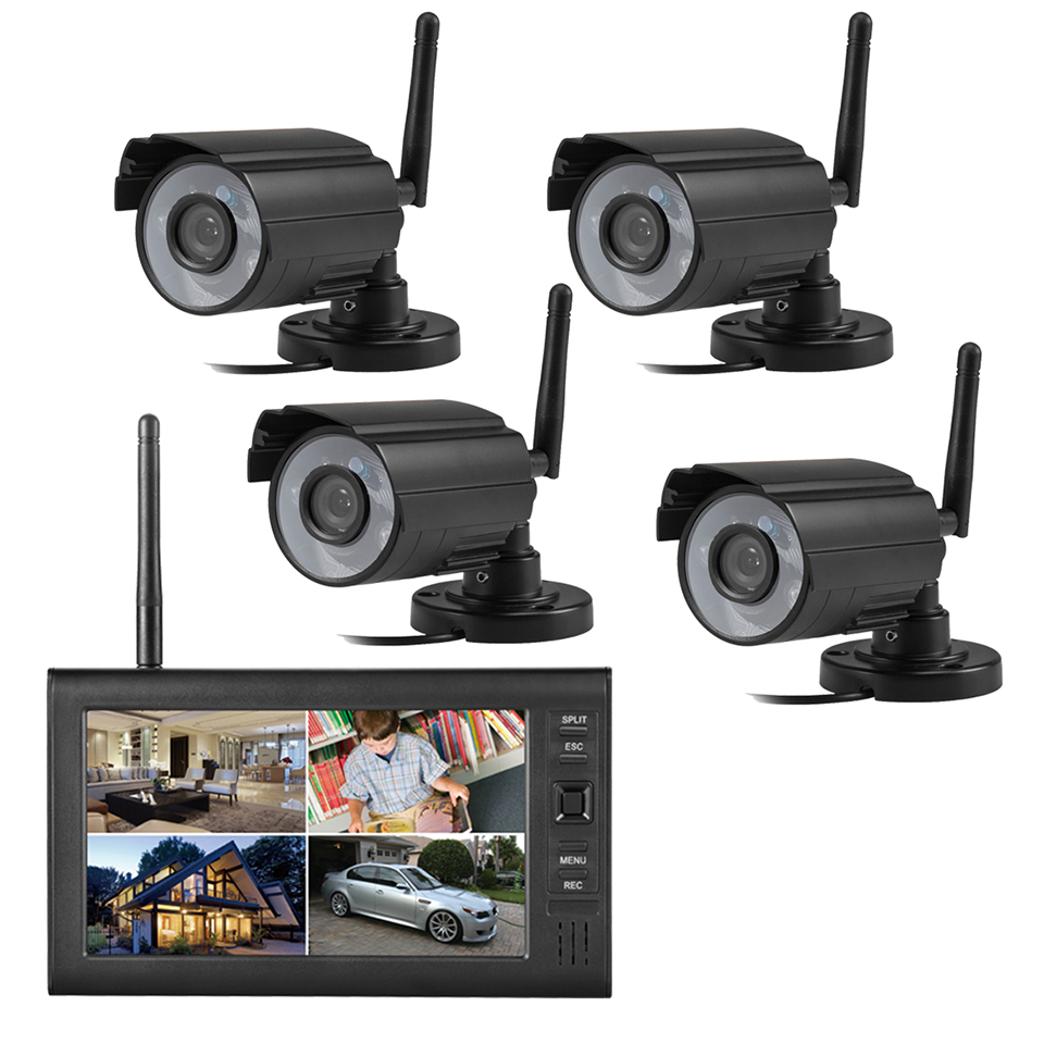 Video Surveillance Home Video Infrared Wireless Monitoring Set Camera 4 Channel DVR7 Inch Display Monitoring