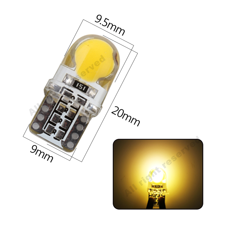 10X LED T10 8SMD CANBUS 194 168 W5W COB Silica Bright White License Light Bulb Y