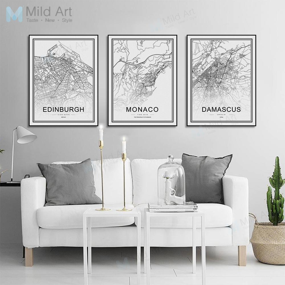 Black and White World City Map Las Vegas Toronto Posters Prints ...
