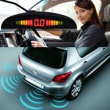 1 Unidades Coche LED 4 Sensores de Aparcamiento Inversa Sistema de Radar de Copia de seguridad Para El Coche Auto Vehículo Marcha Atrás/Gota Libres