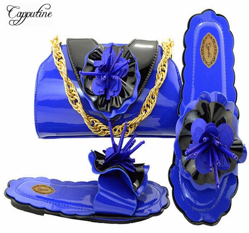 Últimas 2018 oro wine Flores M10534 Bolsas Africanas Tacones royal fuchsia Mujeres Italianos púrpura Juego teal Y Con Negro Blue Bajos Adornados Bolsa Zapatos Capputine zqdwHz