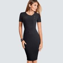 Женское короткое винтажное милое формальное платье на пуговицах с круглым вырезом элегантное тонкое офисное платье трапециевидной формы HB502