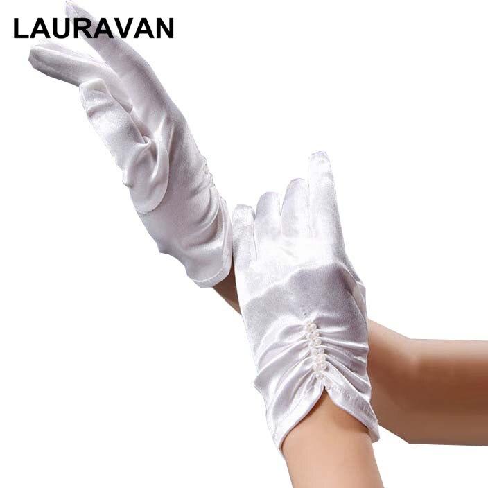 Bridal Vintage Elegant Short White Ivory Wedding Gloves Finger Wrist Length Pearl Beaded Satin Women Bride Gloves For Wedding