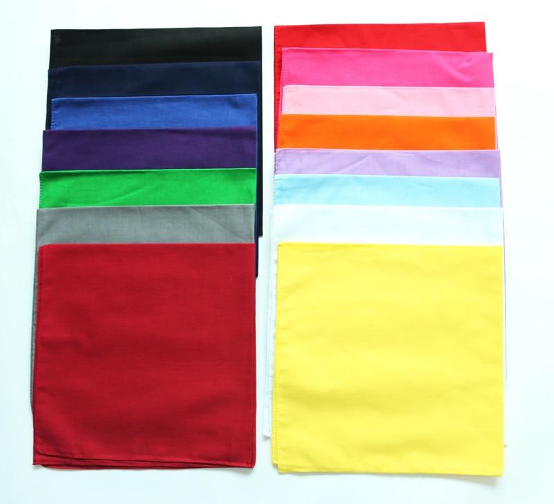 53-55CM Solid Color White Black Red Cotton Bandanas Wedding Party Men Pocket Square Ladies Hankies Headscarf Handkerchief TJ9030