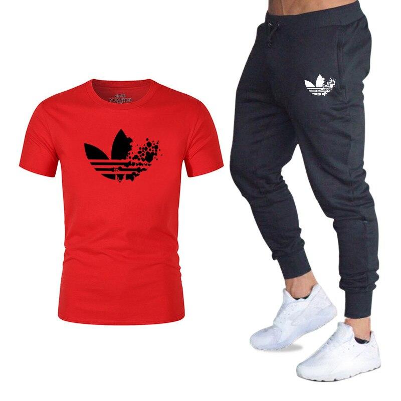 2018 Neue Klassische Marke Männer T-shirt + Jogginghose Zwei Sätze Von Casual Sportswear Herren Sport Hemd T-shirt + Sport Hosen Anzug Um Jeden Preis