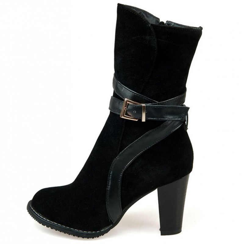 Зимняя женская обувь на высоком каблуке модные ботинки с ременной пряжкой со скругленным носком женские ботинки большие размеры 34–43 WSH2173