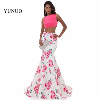 Real Picture Mermaid Satin Scoop Neck Long Evening Dress 2017 Open Back Two Piece Pattern Floor