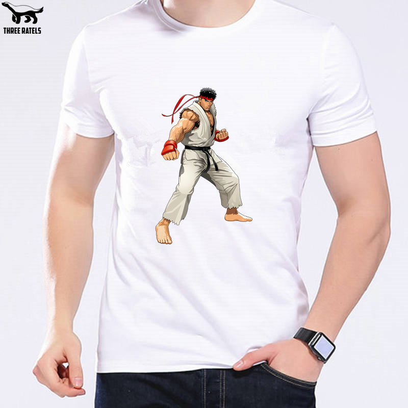 Three Ratels FUT500 street fighter video games white japanese warrior tshirt men t-shirt tops