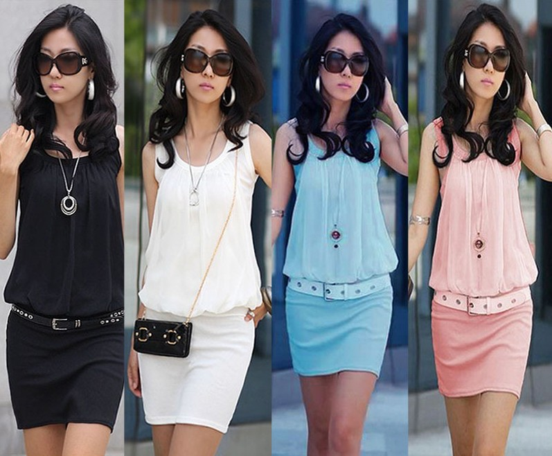 eb507a88c70b 2014 Summer Women s Mini Dress Crew Neck Chiffon Sleeveless Causal Tunic  Sundress 4 colors