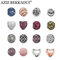 New crystal beads fit for european pandora bracelets necklaces silver plated diy crystal heart cabochon charms women men jewelry