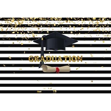 Graduation Backdrops for Photography White and Black Stripe Bachelor cap Photo Background Booth Photography Studio G-641