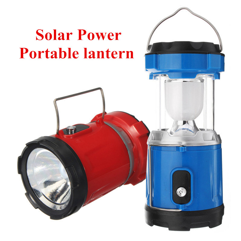 High Power Rechargeable Solar Power LED Flashlight Camping Lantern ABS Tent Lights Torch Lamp for Outdoor Camping Hiking