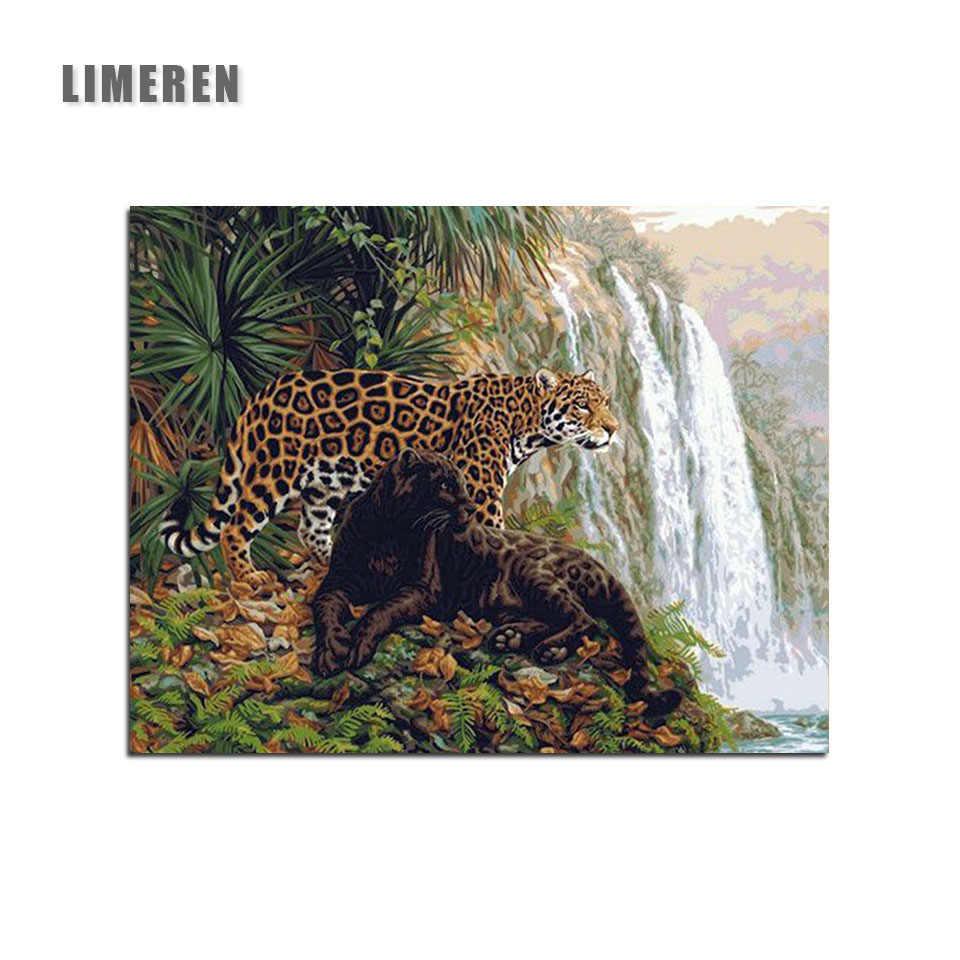 Tanpa Bingkai Leopard Hewan Jaguar Lukisan Dengan Angka Air