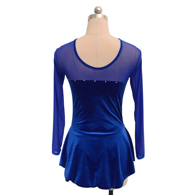 Nasinaya robe de patinage artistique concours personnalisé jupe de patinage sur glace pour fille femmes enfants gymnastique Performance velours - 2
