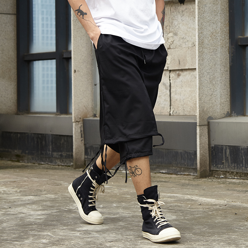 Men Japan Pant High Street Double Layer Spliced Loose Casual Skirt Pants Male Streetwear Hip Hop Punk Gothic Harem Trousers