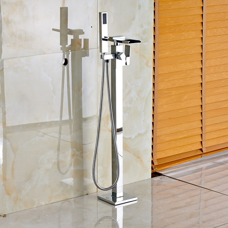 Fashionable Design Waterfall Spout Floor Mounted Tub Shower Faucet Chrome Finish-in Shower