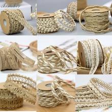 5M DIY Craft Vintage Natural Hessian Jute Twine Rope Wedding Party Burlap Ribbon Decor Home Spool Festival Scrapbooking 9 Styles