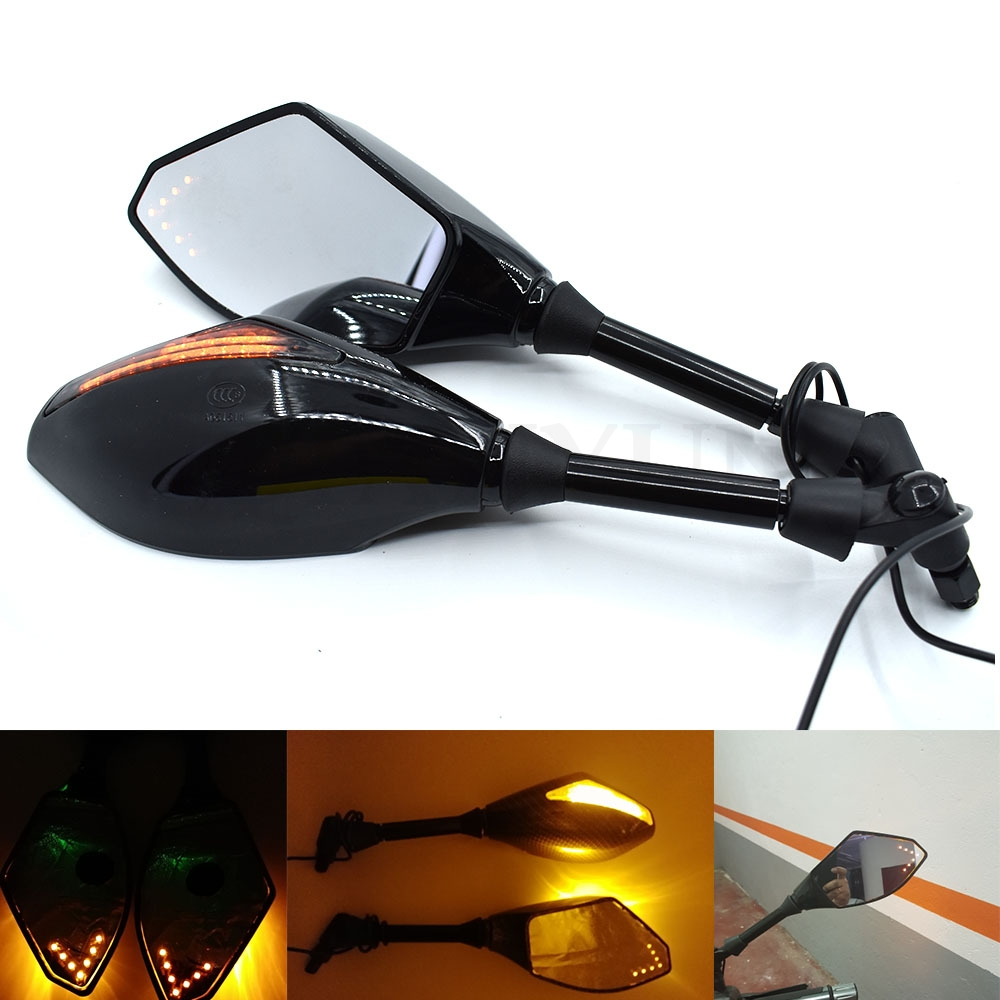 Universal Motorcycle mirrors Carbon Fiber LED Turn Signals Rearview Mirrors  For Honda CBR250R CBR300R CBR500R CB500F/X