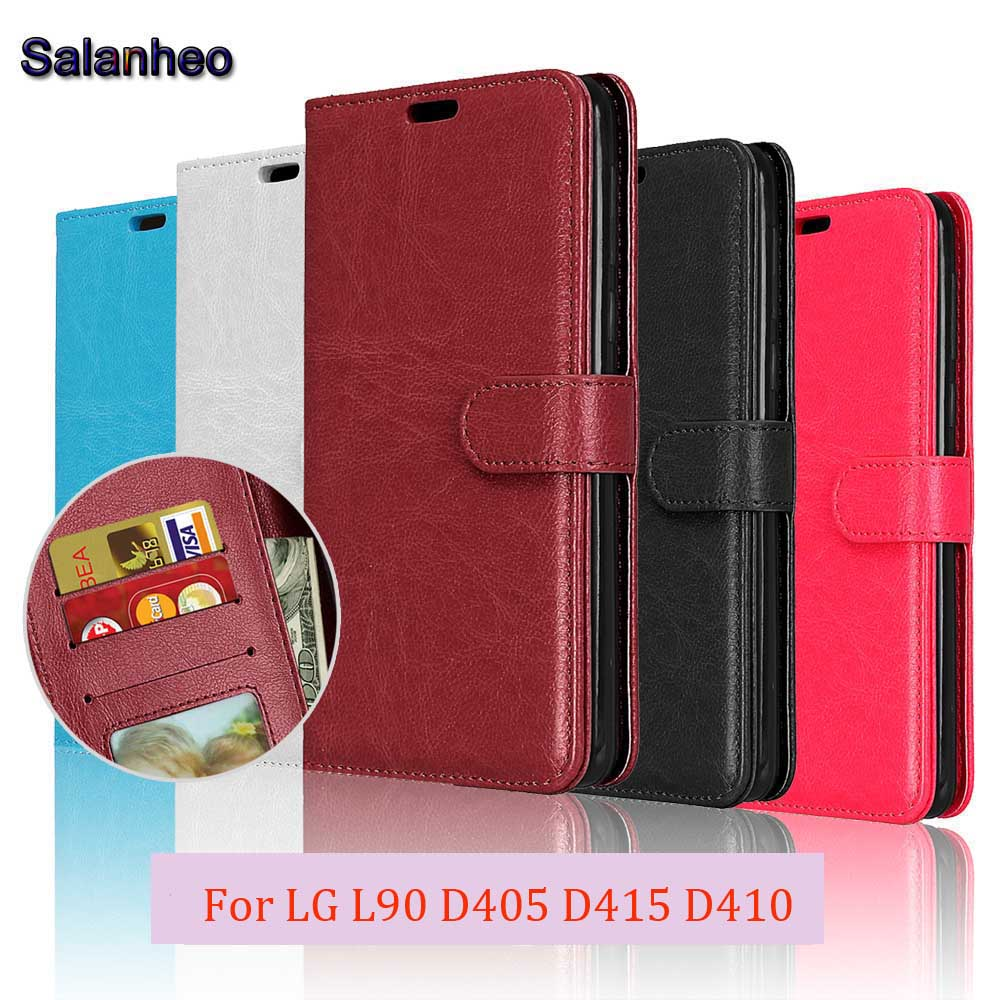 official photos 80897 4bfd0 US $3.99 20% OFF|Flip Case For LG L90 Case Optimus D405 D415 D410 Phone  Case Plain Cover for LG L90 Phone Cases PU Leather Card Holder Stand bag-in  ...