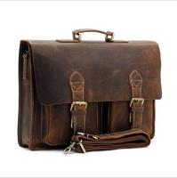 Retro Briefcase Men's Bag Crazy Horse Leather Multi Pocket 15.6 Inch Cowhide Handbag Crossbody Shouler Laptop Men sacoche homme