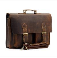Retro Briefcase Men's Bag Crazy Horse Leather Multi Pocket 15.6 Inch Cowhide Handbag Crossbody Shouler Laptop Men sacoche homme