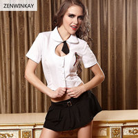 Women Sexy Lingerie Student Role Play Sex Clothes School Erotic Costumes Sexy Cosplay Dress 3 Pieces Set
