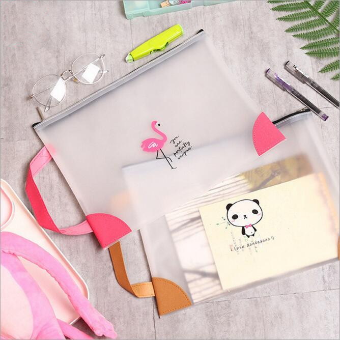 New Kawaii Flamingo A4 Papers Books Organizer Bag TPU Office File Folder School Pencil Storage Case Office Stationery Supplies