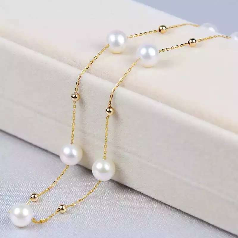 AINUOSHI 18K Yellow Gold Natural Cultured Freshwater Pearl Necklaces Bijoux Femme Gift for Women Wedding Engagement