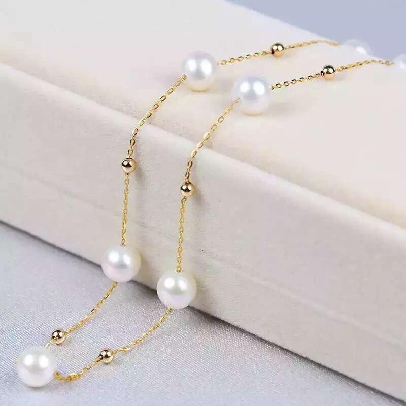 AINUOSHI 18 k Or Jaune Naturelles de Culture D'eau Douce Perle Colliers Bijoux Femme Cadeau pour les Femmes De Mariage de Fiançailles Anniversaire