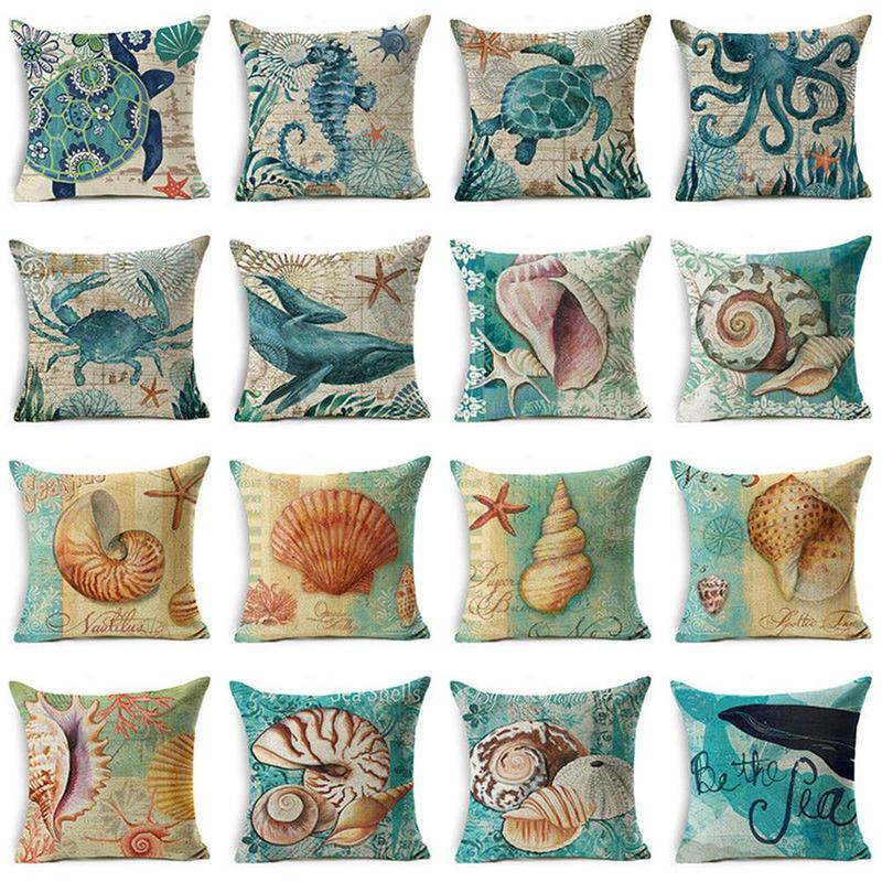 US SELLER-10pcs cushion covers ocean animal sea life throw pillow covers