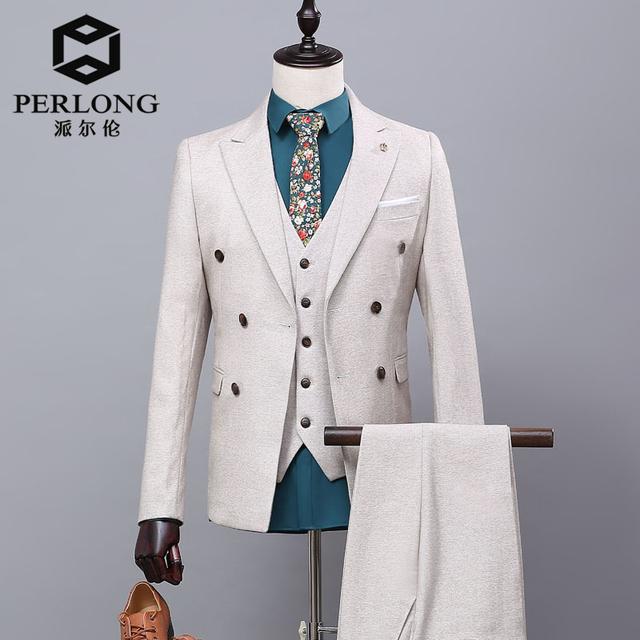 Envío Libre Por Encargo Gris Herringbone Hombres Trajes de Doble Botonadura Chaqueta de Boda Caballero Traje de chaqueta (Jacket + Pants + chaleco)