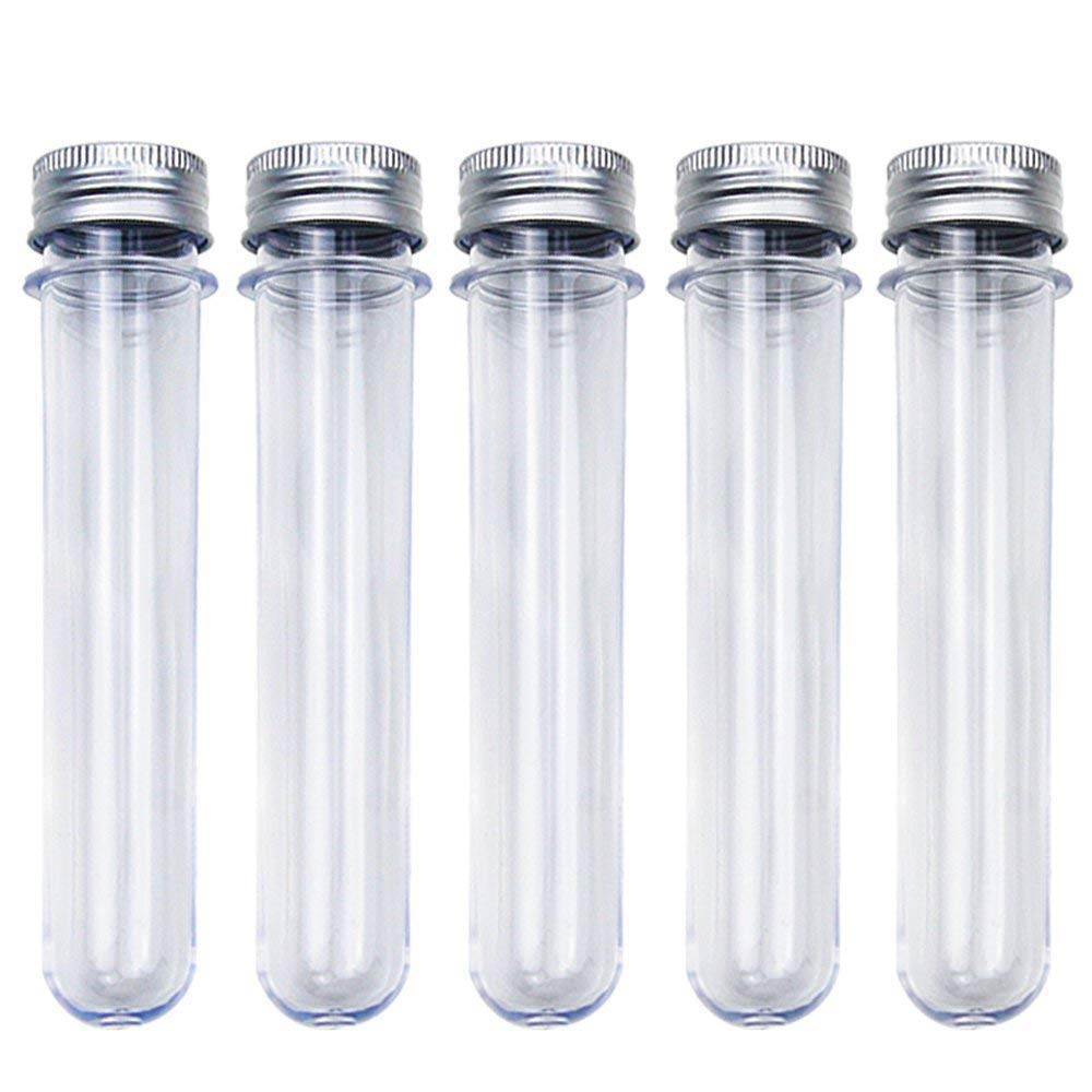 25pcs 30ml Excellent Plastic Transparent Test Tubes With Aluminum Cap Bottles School Supplies Lab Equipments 25x110mm