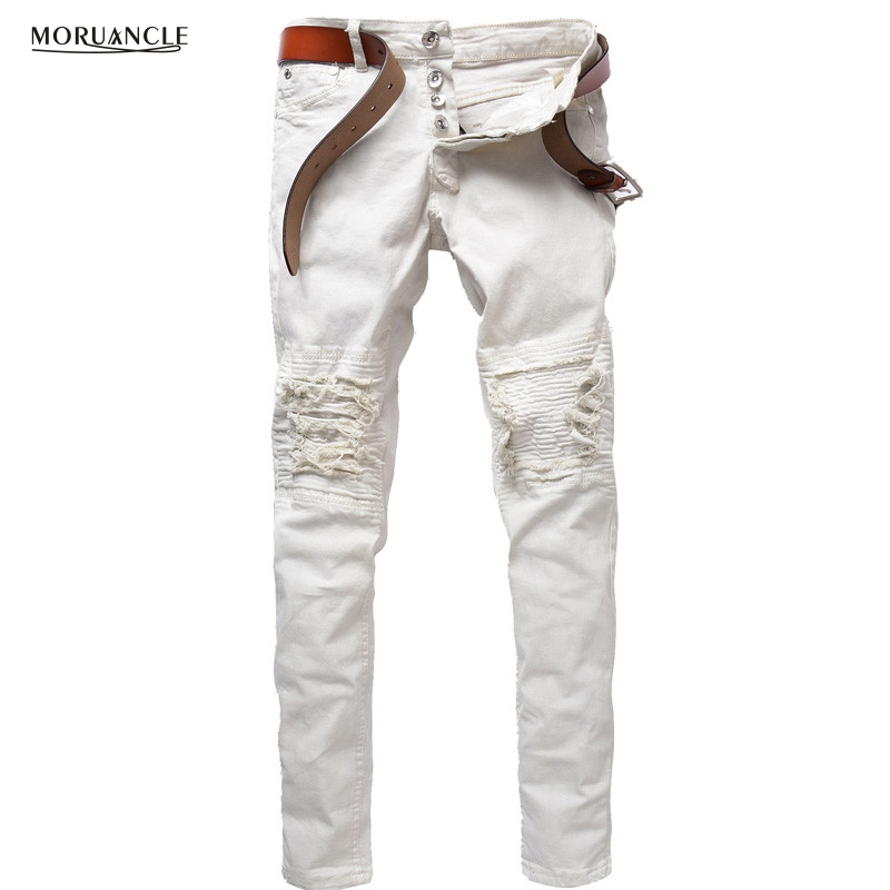 MORUANCLE Fashion Mens Ripped Biker Jeans Pants Brand Designer Distressed Denim Joggers For Male Slim Fit