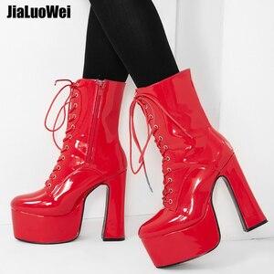 Image 1 - Jialuowei 2019 novo 15 cm super alta plataforma de salto grosso botas de tornozelo feminino rendas up apontou toe bloco quadrado salto sapatos de senhoras