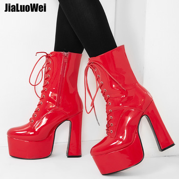 jialuowei 2019 New 15CM Super High Chunky Heel Platform Women Ankle Boots Lace-Up Pointed Toe Square Block Heel Ladies Shoes