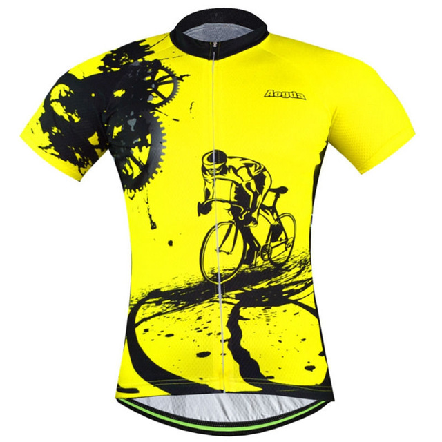 Prix pour 2017/18 AAA Roupas Bicicleta Manga Curta Camisas dos homens de Bicicleta de Ciclismo Jersey T-shirt Amarela