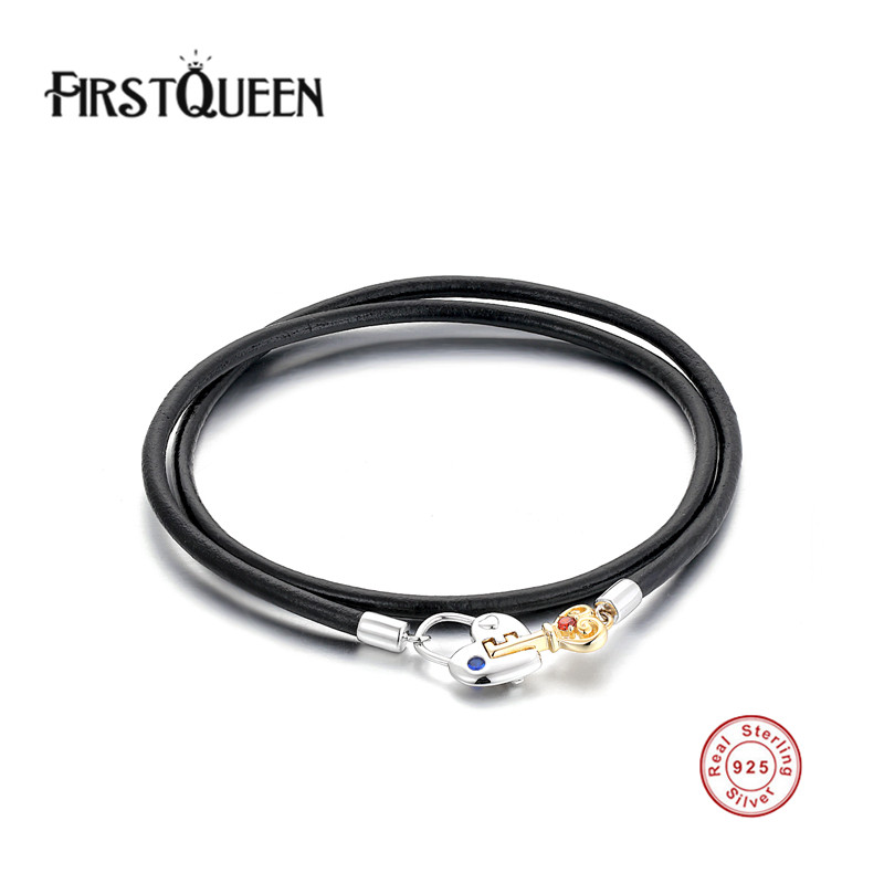 FirstQueen Genuine Leather Long Bracelets With Silver 925 Key Lock Clasp DIY for Women and Men Silver Fine Jewelry