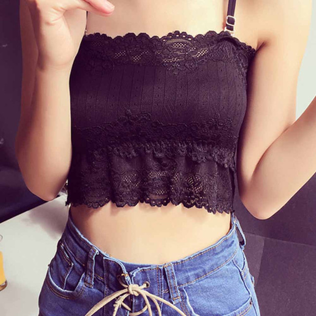 9c76174ec3 Summer Sexy Women Lace Top Tanks Spaghetti Strap Tube Tank Tops Bralette  Bralet Wrap Chest Crop Top Camis Padded Tops Women  517