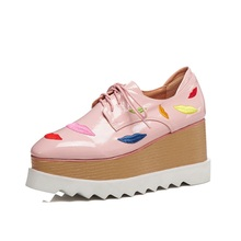 Spring autumn womens pumps cow leather fabric fashion 8CM wedge platform shoes waterproof cross straps