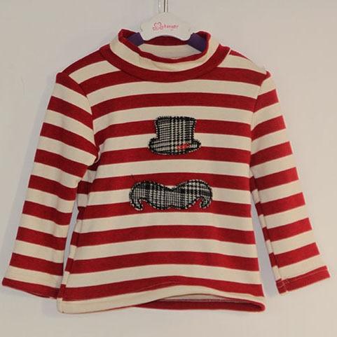 Wholesale(5pcs/lot)- 2016 new winter hat pattern striped thicken base sweatshirt for child girl