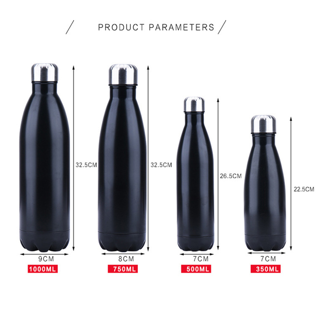 350/500/750/1000ml Double-Wall Insulated Vacuum Flask Stainless Steel Water Bottle Cola Water Beer Thermos for Sport Bottle 4