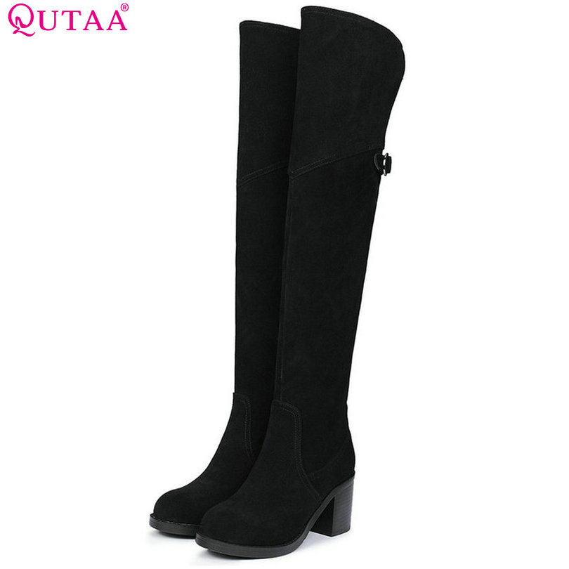 QUTAA 2018 Women Knee High Boots Fashion Cow Leather + Scrub Square High Heel Zipper Design Women Motorcycle Boots Size 34-39