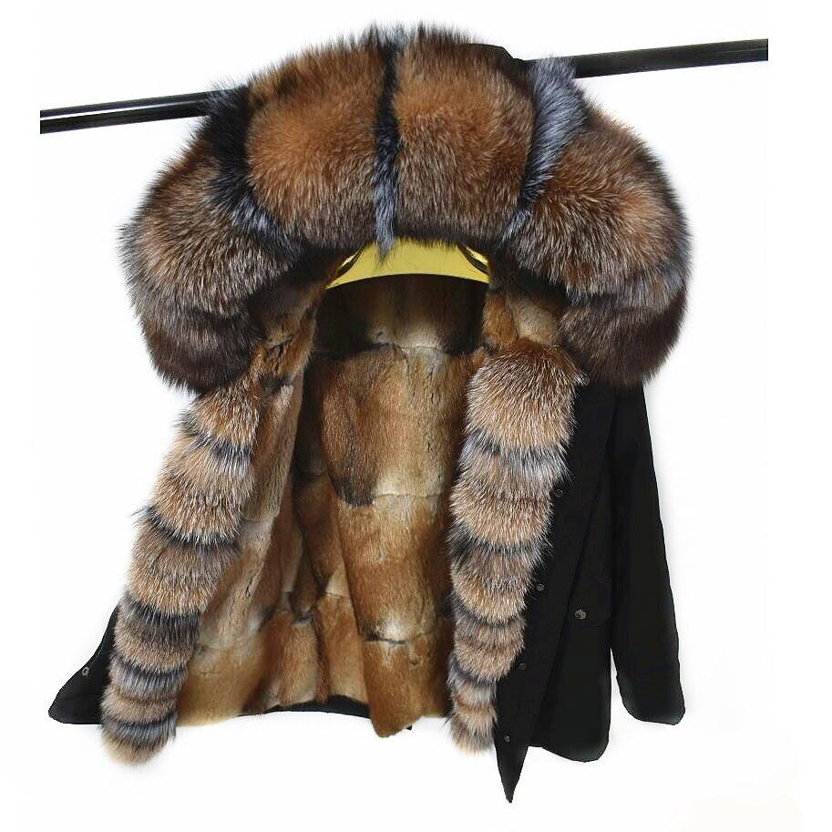 Parker cappotto naturalrex fodera in pelliccia naturale della pelliccia di fox del cappotto del collare del cappotto di inverno delle donne di vera pelliccia di volpe cappotto di pelliccia fodera rivestimento di spessore wint