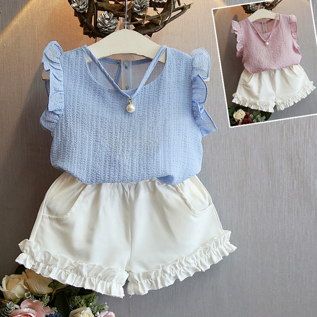 a7395c396028 Nice Kids Designer Brand Kids Toddler Kids Baby Girls Summer Outfits  Clothes Dress+Short 2PCS Set