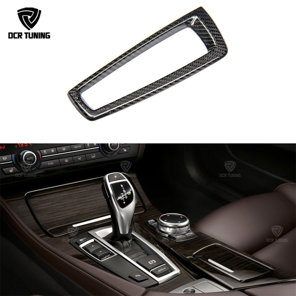 For BMW 5 6 7 Series F10 F07 F11 F12 F13 F06 F01 F02 Carbon Trim Carbon Fiber Gear Surround Cover Base Cover Only LHD car styling central handbrake auto h button left side decorative cover trim for bmw 5 6 7 series f10 gt f07 auto accessories